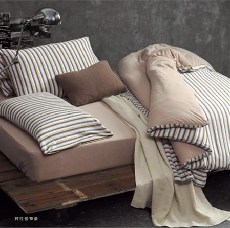 素雅细条纹夏季床上四件套