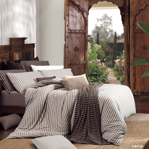 夏秋棕色条条床上四件套