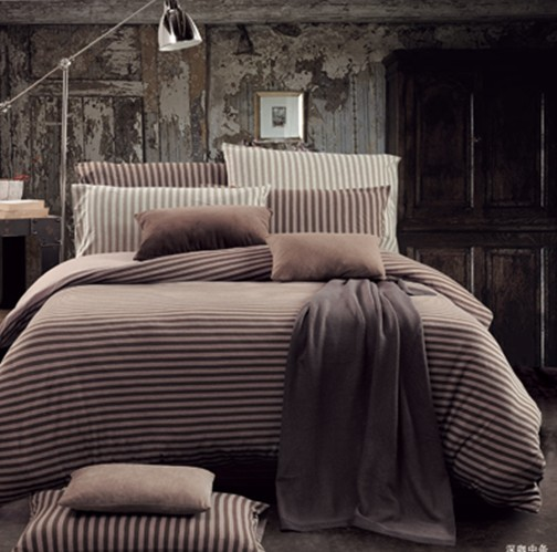 深咔斜纹简单床上用品4件套