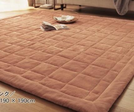 190X190cm棕色加厚珊瑚绒地毯