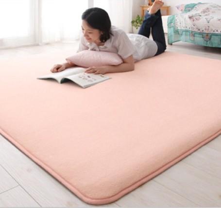 亮粉色柔软珊瑚绒薄地垫起居室地毯
